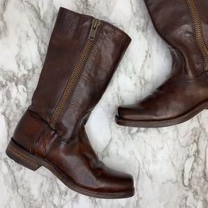 FRYE Heath mid calf zipper brown leather boots 7